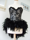Black Lace Corset with Feather Bustle (Lady)